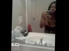 Sexy ebony teen showing off