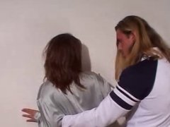 Women in Grey Satin Blouse & Brown Satin Skirt Gets Fucked