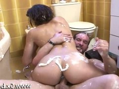 Creamy blowjob for a brunette