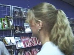 Slut Sucking Big Cock in Sex Shop