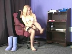Putting on nylon stockings