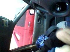 in my car w cum
