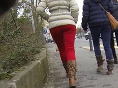 Candid - Nice Ass In Tight Red Pants And Boots