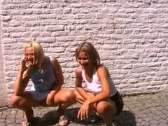 Two Polish girls fucking outdoors in Maastricht, Netherlands