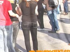 Teen ass in tight jeans