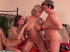 Mature housewives and chubby grandmother playing with dildos