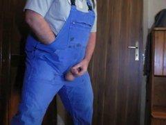 grandpa masturbate in blue overall
