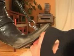 Slave Licks Goddess' Dirty Boots Clean, Boot Worship
