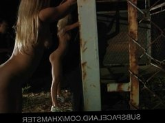 Blonde slaves got caged and played for fuck