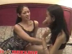 Teen lesbians from Manila Cherry licking shaved virgin pussy