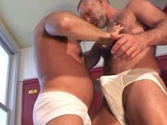 Muscular Daddies Fuck in Locker Room