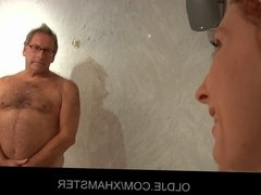 Old pervert man gets ridden by a young hotel maid