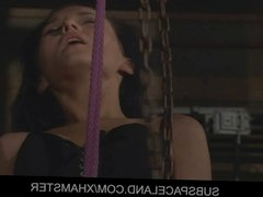 She sucks in bdsm while is inverted-suspended