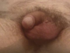 Uncut cock soft and half hard in bath