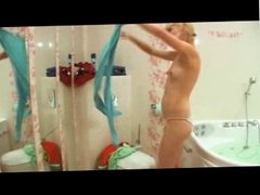 Skinny blonde teen play with dildo 10