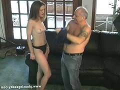 Small Titted Brunette Chase Suck Old Cock