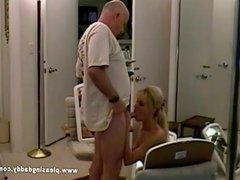 Nicole Moore sucks off old Dave Cummings