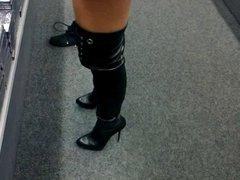 french girlvoyeur shopping miniskirt & overknee corset boots