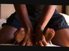 Ticklish nylon feet bound