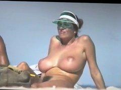 Fabulous Busty Nudist Milf On Beach