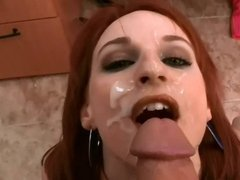 Redhead bumps her head before the facial (blooper)