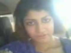 Hot Indian Girl Flasing her Boobs and Pussy to BF at CAR