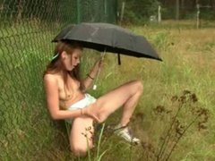 Teen Masturbation Outside Under Umbrella - David Bryne Remix