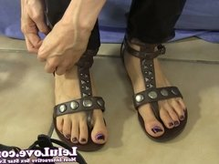 Lelu Love-Goth Catsuit Cuffs Sandals