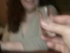 Mature BBW drinks cum from a shot glass