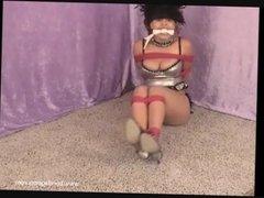 Ebony bondage babe and ballgagged black fetish submissive