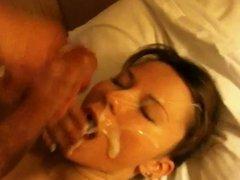 amateur huge facial - big cumshot on her face
