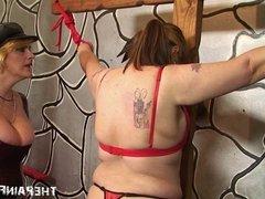 Latin lesbian submissives bondage cross whipping and femdom
