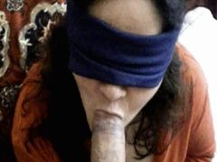 Blindfolded Sucking Big Cock 1