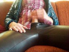Masturbate in Leather Leggings, green PVC Coat