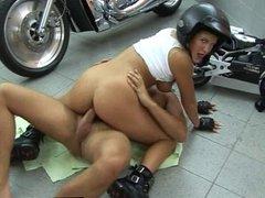 Motorbike teen Samantha gets big tits fucked