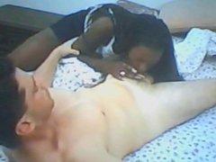 Ebony girl loves white dick
