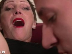 Busty french mature gets hard analized