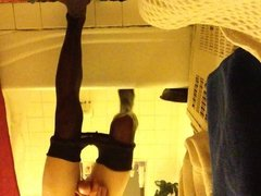 masturbating in the shower in tights