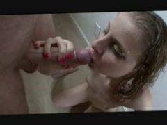 tiny slut blows two cocks