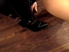 Gimp worships Mistress's boots