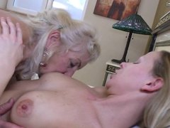 Granny fucked by young lesbian girl