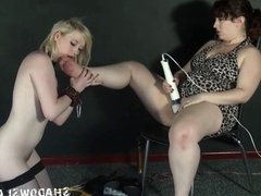 Lesbian feet licking and foot domination of lezdomme slave