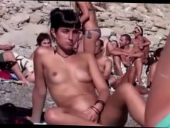 Nude Girl Fingering Hairy Pussy on Beach BVR