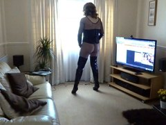Alison Thighbootboy in fishnet and thigh boots