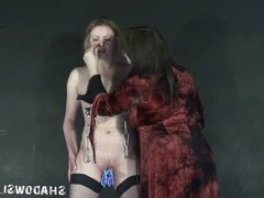 Lezdommes cruel tit torture of Amber West in hardcore lesbos