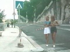 2 Pretty hot lesbians in public