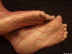 Pink fishnet feet & soles tease