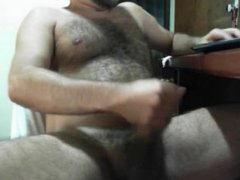 BIG DICK BEAR CUMSHOT ON HAIRY CHEST