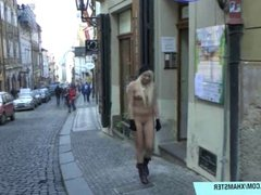 Hot babes shows their naked bodies on public streets