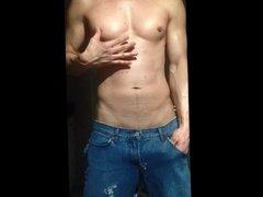 freeballing ripped jeans hardon